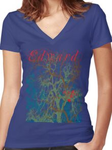 Tangled Forest with Beating Heart and the word EDWARD Women's Fitted V-Neck T-Shirt