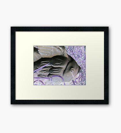 Garden goldfish purple grass altered art photo from a childs view Framed Print