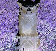 Victorian evil gothic Gargoyle purple hues altered art from a childs view Photographic Print