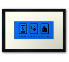 PKW- Phone Keys Wallet Check - dark Framed Print