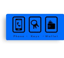 PKW- Phone Keys Wallet Check - dark Canvas Print