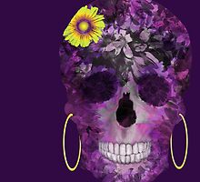 Purple Flower Skull by TinaGraphics