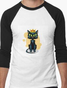Black cat in golden crown Men's Baseball ¾ T-Shirt