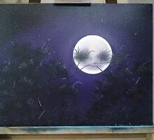 """""""Moonlit Night"""" 16x12 inch Oil on Cotton canvase by kayleen01"""