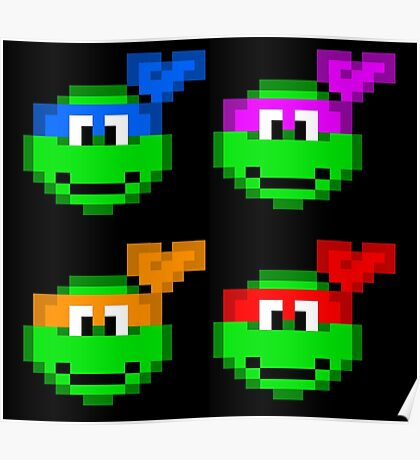 8-bit Turtles Poster
