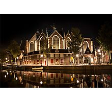 Amsterdam night: The Oude Church Photographic Print