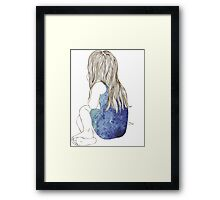 Little girl in a dress sitting back hair Framed Print