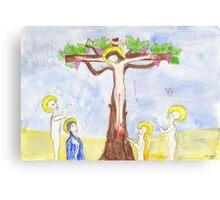 Crucifixion with vine tree Canvas Print