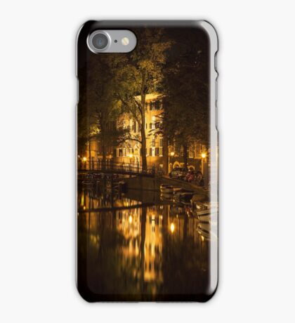Amsterdam night: lights and canal iPhone Case/Skin