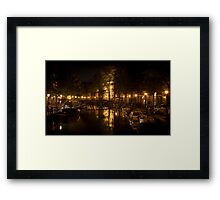 Amsterdam night: lights and canal Framed Print