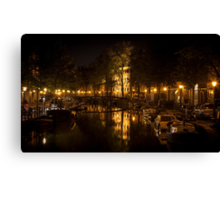 Amsterdam night: lights and canal Canvas Print