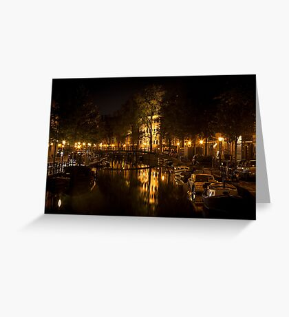 Amsterdam night: lights and canal Greeting Card