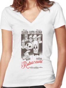 Rubacava (White) Women's Fitted V-Neck T-Shirt
