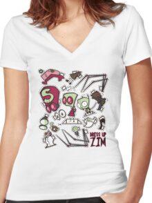 Dress up Zim Women's Fitted V-Neck T-Shirt