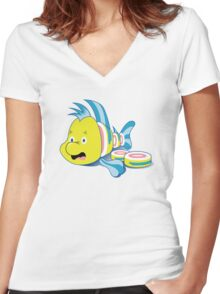 Flounder Sushi Women's Fitted V-Neck T-Shirt