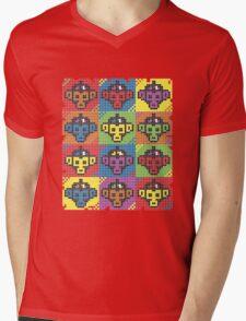 Monkey Blista Pattern Mosaic Mens V-Neck T-Shirt