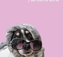 Funny Dog and Text Poster - Headscarf Beads Shades by Natalie Kinnear