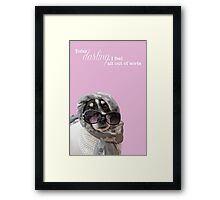 Funny Dog and Text Poster - Headscarf Beads Shades Framed Print
