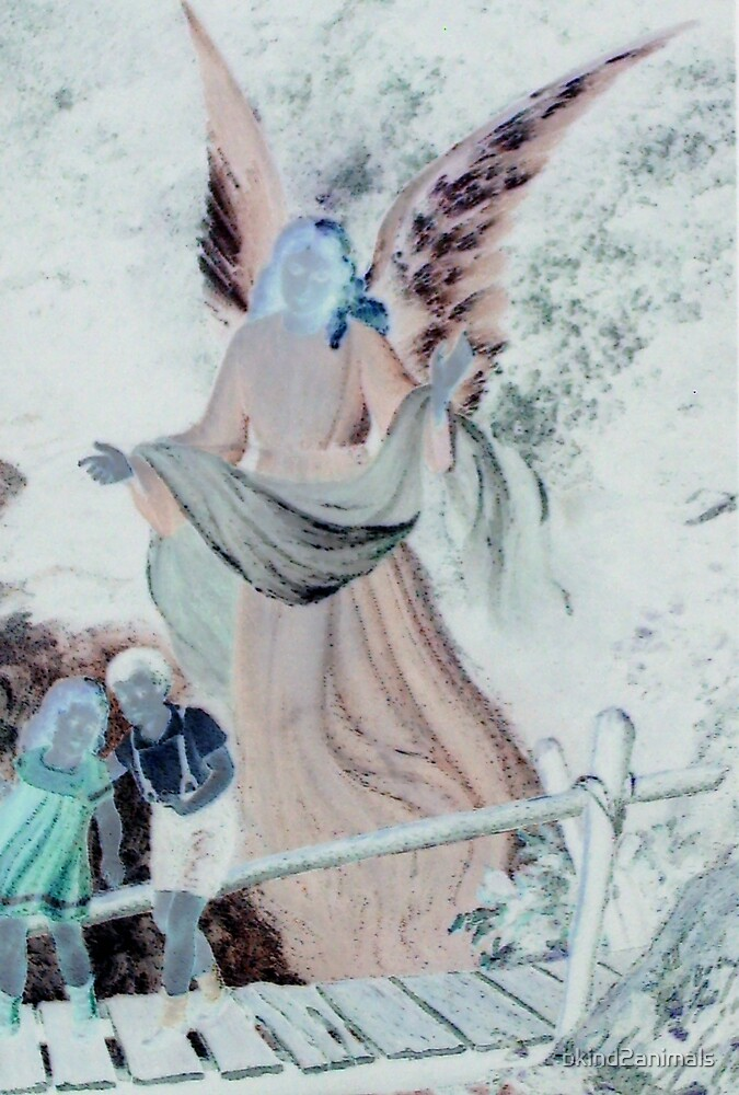 Angel watching over children on bridge altered art from a childs view by bkind2animals