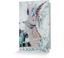 Angel watching over children on bridge altered art from a childs view Greeting Card