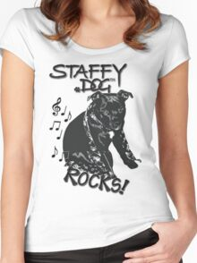 Staffy Dog Rocks! Women's Fitted Scoop T-Shirt