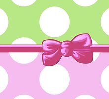 Ribbon, Bow, Polka Dots - White Green Pink by sitnica