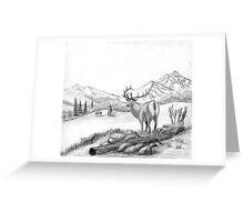 Elk - Charcoal Greeting Card