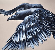 Crow Flying Drawing Gothic Raven Art by ArtMK