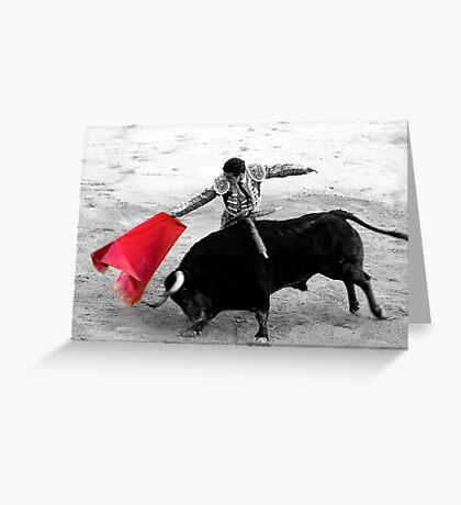 Matador and Bull. 3 Greeting Card