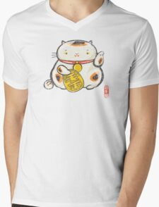 ManekiNeko [Special Lucky Toy Box] Mens V-Neck T-Shirt
