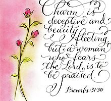 Scripture Proverbs 31 calligraphy art by Melissa Goza