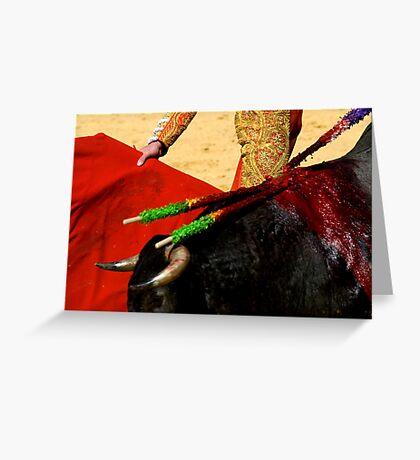 Matador and Bull Up Close. Greeting Card