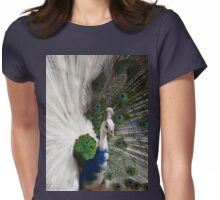 Blue White Peacock Womens Fitted T-Shirt