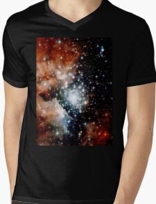 Red Galaxy Mens V-Neck T-Shirt