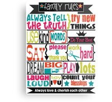 Family Rules.  Metal Print