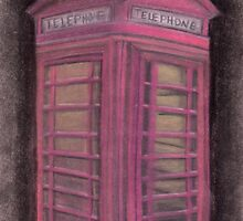 Red british phone booth by Melissa Goza