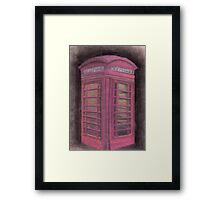 Red british phone booth Framed Print