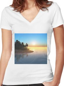 Tropical island Women's Fitted V-Neck T-Shirt