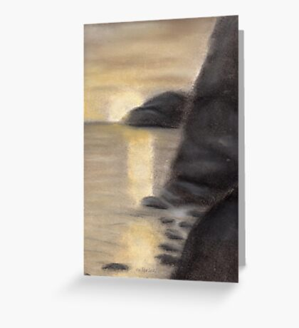 Dark Sea Venice golden sunset pastel drawing Greeting Card