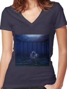 Woman under water 4 Women's Fitted V-Neck T-Shirt