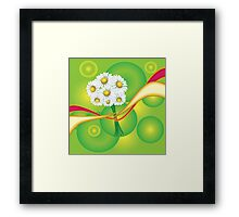 Chamomile with yellow and red ribbon Framed Print