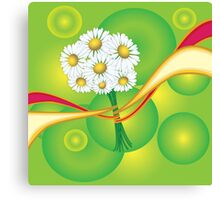 Chamomile with yellow and red ribbon Canvas Print