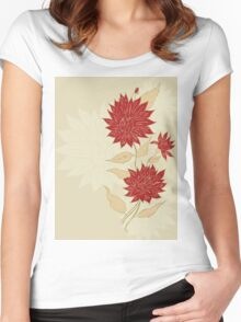 Colorful Flower Ornament Women's Fitted Scoop T-Shirt