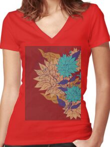 Colorful Flower Ornament 3 Women's Fitted V-Neck T-Shirt