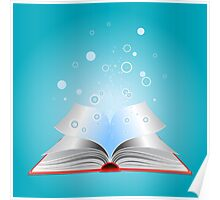 Opened book with particles Poster