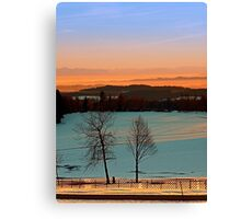 Colorful winter wonderland sundown VI | landscape photography Canvas Print