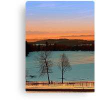 Colorful winter wonderland sundown VI   landscape photography Canvas Print