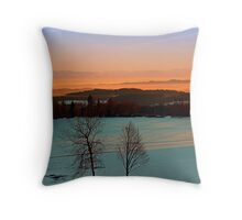 Colorful winter wonderland sundown VI | landscape photography Throw Pillow