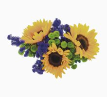 Sunflower Plant, Petals, Leaves - Yellow Green Kids Clothes