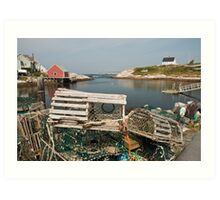 Peggy's cove through a lobster trap Art Print